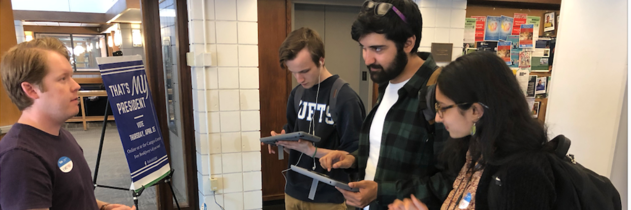 Tufts students voting on Voatz mobile app